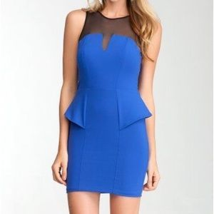 bebe peplum mini dress - royal blue
